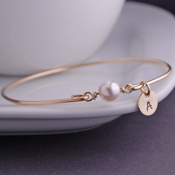 Personalized Pearl Jewelry, June Birthday Gift Idea, June Birthstone, Gold Bangle Bracelet,  Swarovski Pearl Bracelet