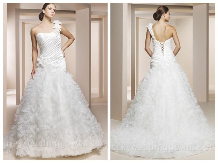 ONE SHOULDER ORGANZA TRUMPET WEDDING DRESS WITH FLORAL STRAP