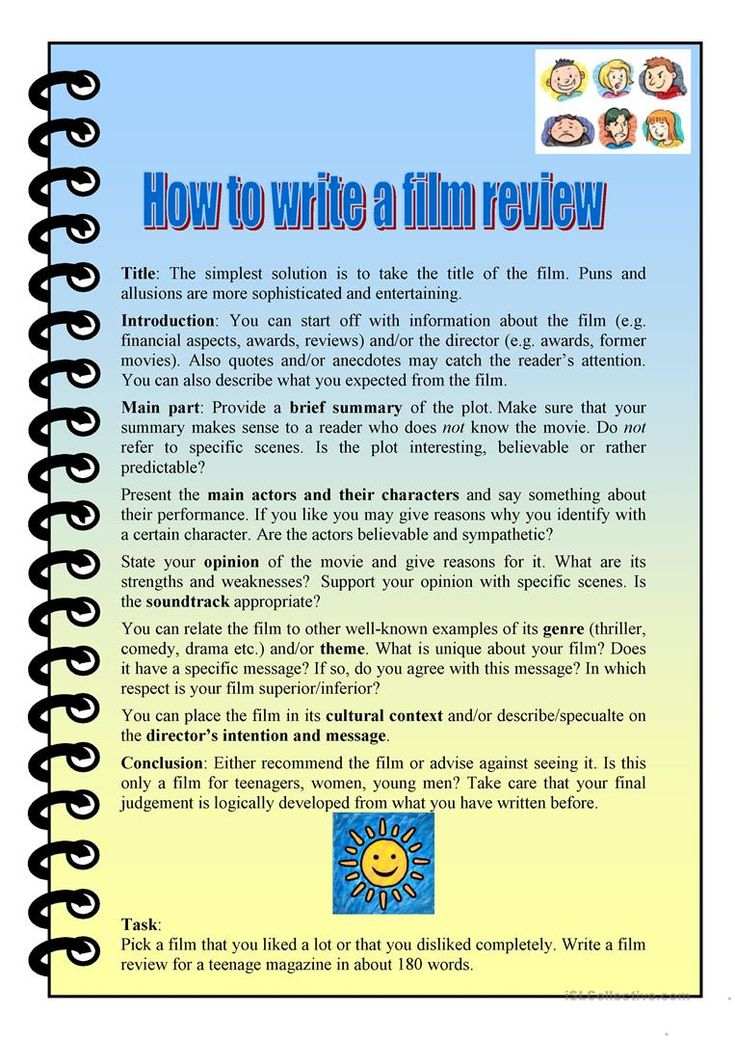 how to write a film review worksheet  free esl printable