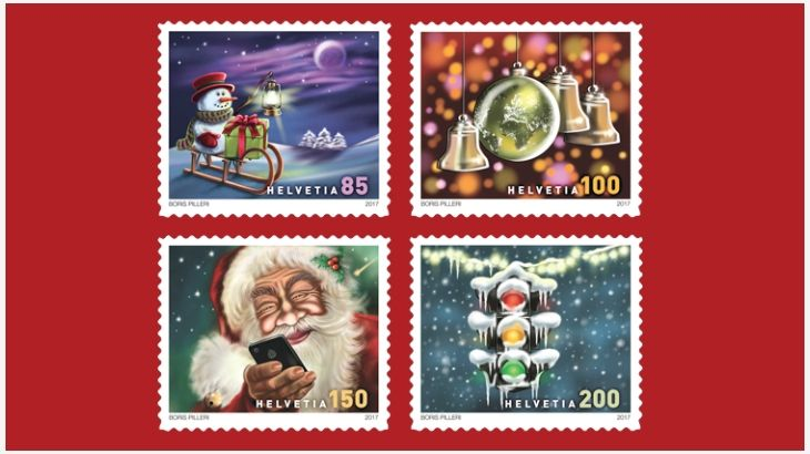 """The United States Postal Service and other postal administrations are featuring carols on the designs of this year's Christmas stamps. Swiss Post is taking this one step further by letting you hear the songs as well. The four stamps were issued Nov. 15.   The new-issue announcement from Swiss Post said, """"The stamp motifs drawn by Berne designer and musician Boris Pilleri not only set the Christmas mood visually, but also sound Christmassy: if you scan the stamps with the Post-App, you can…"""