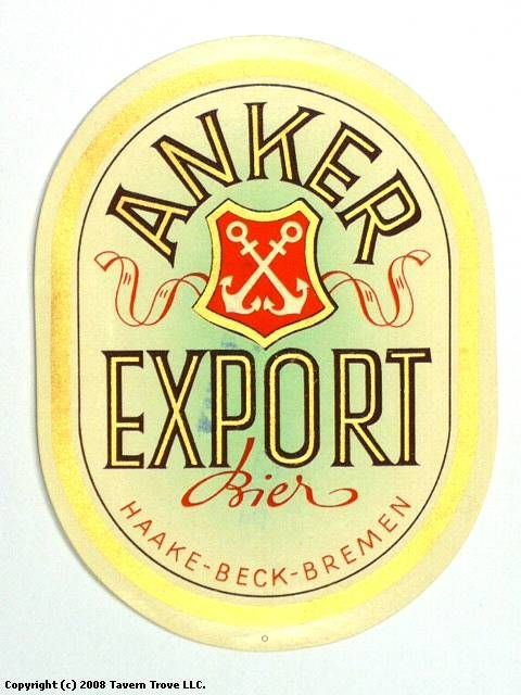 Anker Export Bier Haake-Beck Brauerei AG Bremen Germany