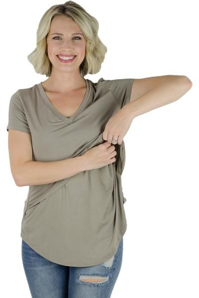 ac8ee93d The Latched Mama Nursing Boyfriend Tee, is the same as our beloved V-neck  Nursing Tee but with a shorter back (back is the same length as the front).