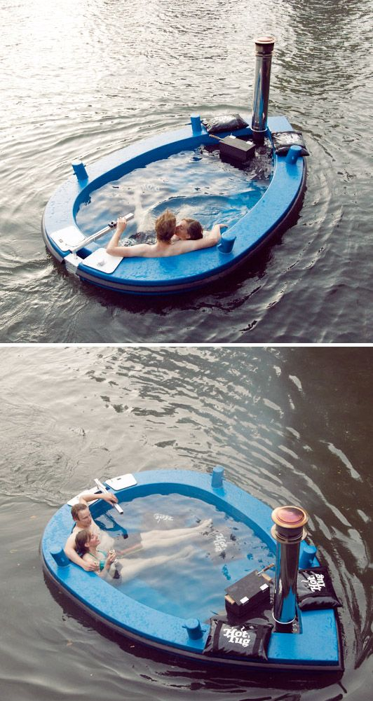 Hot Tub Boat - suitable for a party of 8 and heated by on-board wood-burning stove. ahhhhh want.