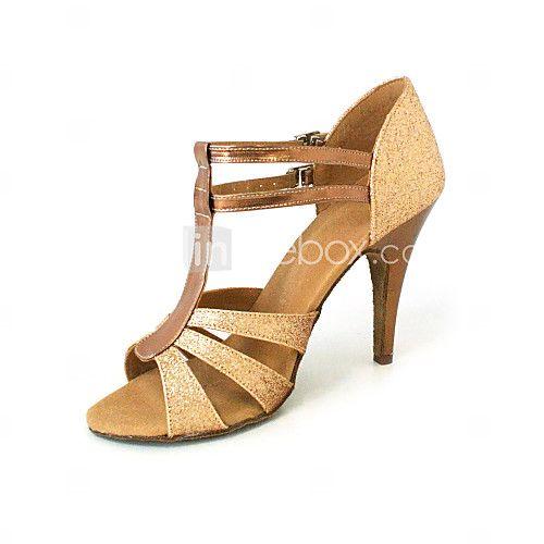 Chaussures de danse (Noir/Or) - Personnalisable - Talons personnalisés - Similicuir/Paillettes scintillantes - Danse latine/Salle de bal - EUR €29.39
