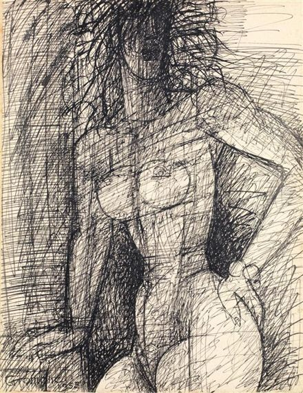 Marcel Gromaire - Nu Debout, 1955, 1955, Ink on paper