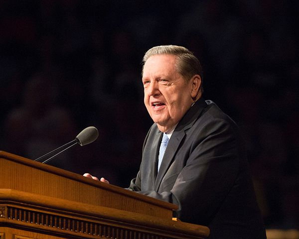 """Elder Holland addressed a concern he had after reading a study by Will and Ariel Durrant. The Durrants said, """"There is no significant example in history of (any) society successfully maintaining moral life without the aid of religion."""" (Photo by Mark A. Philbrick/BYU Photo)"""