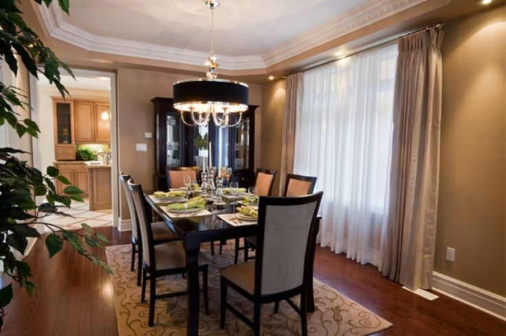 Dining Room. Cozy Formal Dining Room Design Ideas. Appealing Formal Dining Room Design Ideas With Brown Laminated Wooden Floor And Brown Stained Wall Plus Glass Window With White Fabric Curtain Together With Black Laminated Wooden Dining Table As Well As Black Laminated Wooden Dining Table With Gray Seat And Backrest Plus Brown Fabric Curtain