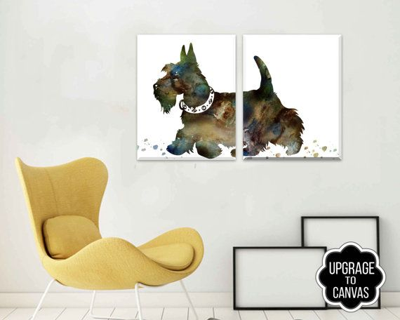 Dog Canvas Art  Canvas wall art  Scottie Dog  Scottie by DaniJArts