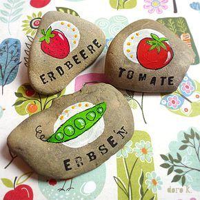 Pflanzsteine - DIY Idee für euren Garten oder den Balkon: bunte, handbemalte Steine zum Markieren eurer Beete;
