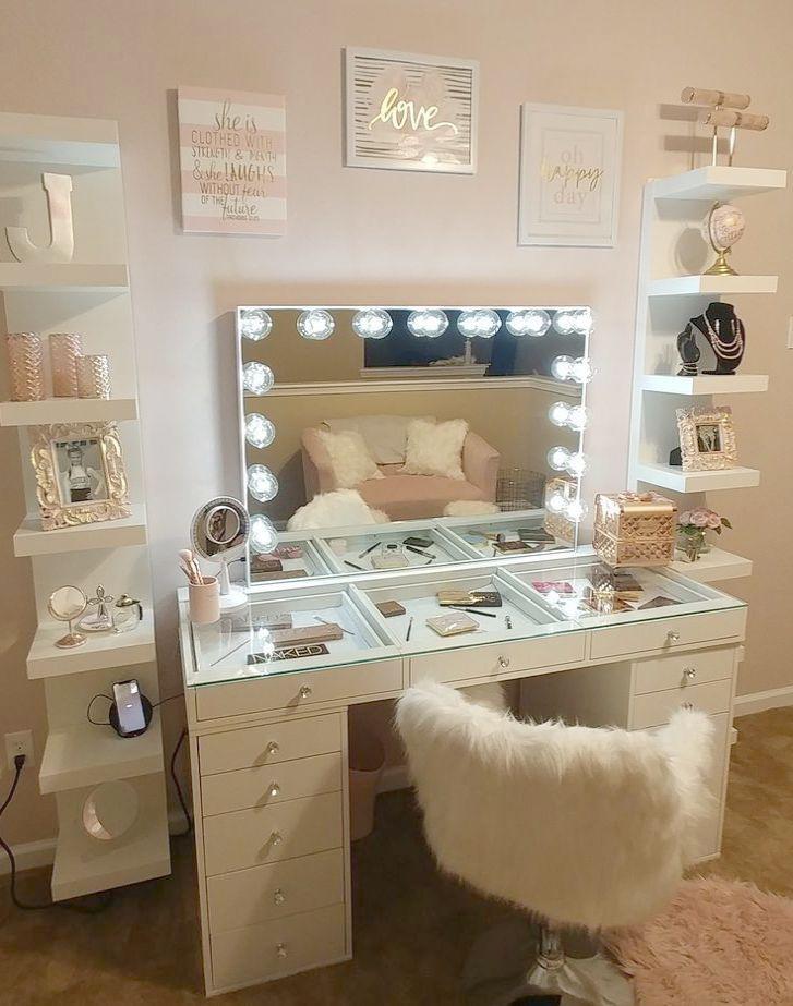 Gold Homesense Long Makeup Mirror Organizer Revolut Vanity Makeup Organizer Homesense Long Makeup Vanit Vanity Decor Impressions Vanity Stylish Bedroom