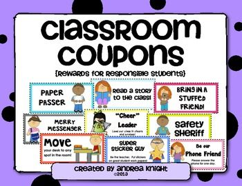 Classroom Coupons  {Rewards for Responsible Students}:  Use these classroom coupons as an alternative to expensive treasure box treats.  Boy and girl versions available for many of the coupons.  Laminate for use year after year.  More than 50 coupons, $  #classroommanagement  #behavior  #awards