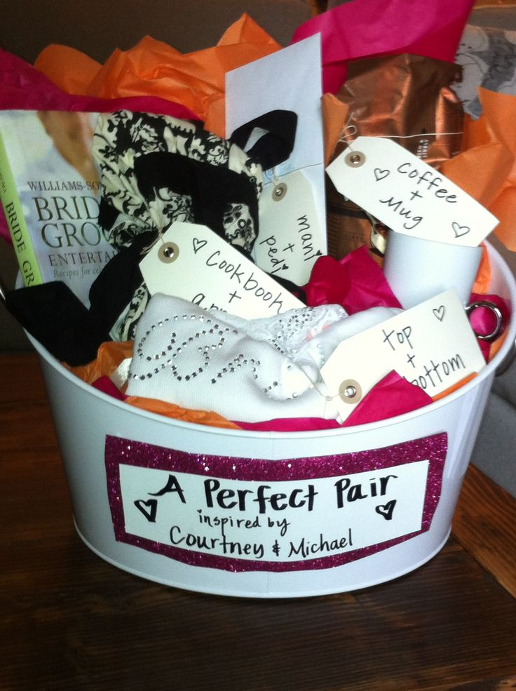 Wedding Themed Gift Basket : Bridal Shower Gift - perfect pairs basket. All the gifts came in pairs ...