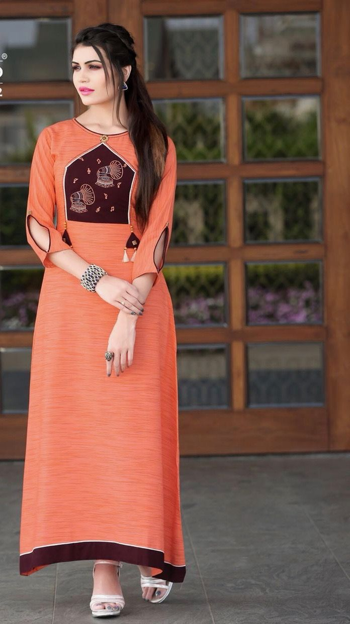 a06dd8d48ed  orange  digital  printdesign rayon  kurti
