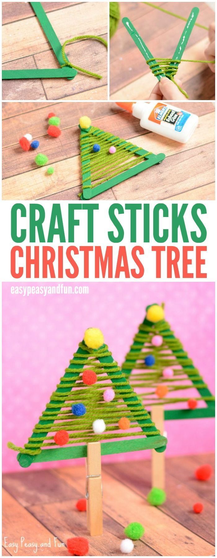 (Note: Add the step of making a loop around each stick when winding, or else may come apart too easily) Great weaving project for preschoolers and kindergartners to make this Christmas!