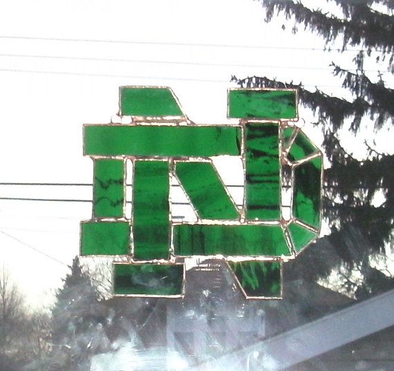 Stained Glass Notre Dame Fighting Irish by smashingglass on Etsy, $45.00