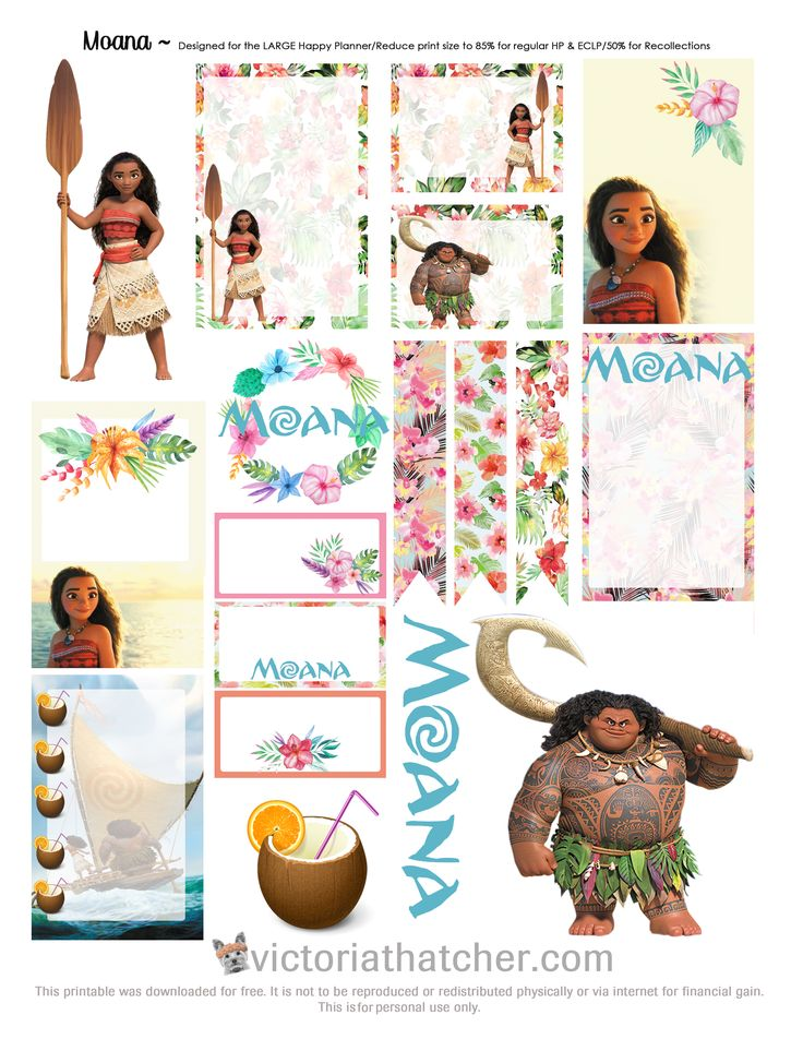 Free Printable Moana Planner Stickers from Victoria Thatcher