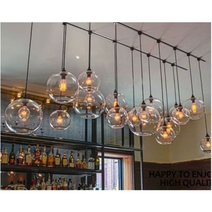 lustre en verre transparent lampe suspendu rond r tro industriel simple cuisine. Black Bedroom Furniture Sets. Home Design Ideas