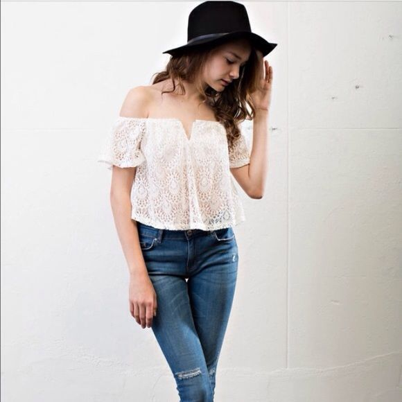 COMING SOON April Spirit off the shoulder top NEW April Spirit Coachella festival off the shoulder lace overlay top. Gorgeous and sheer top! Would look great with bandeau top underneath and a cute hat and shorts! April Spirit Tops