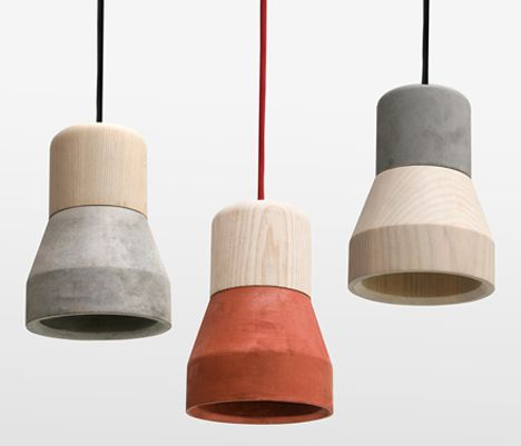 Concrete and wood lamps