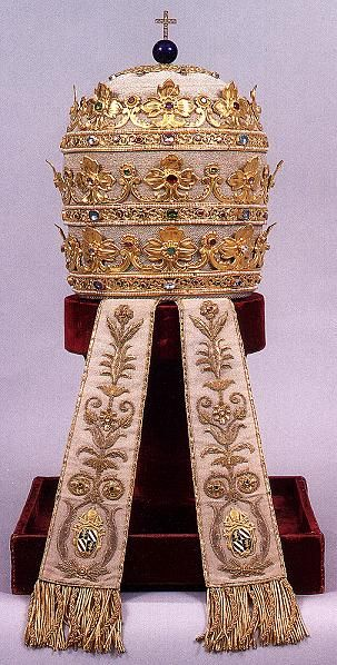 """Tiara of gold made in 1835 for Pope Gregory XVI.  Rev 17:4,5 """"the woman was ... adorned with gold and precious stones and pearls,...""""BABYLON THE GREAT"""