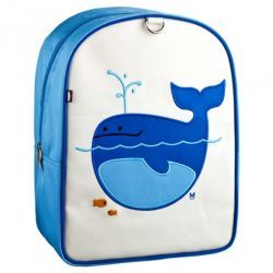 "Lucas the Whale Coated Canvas Little Kids Backpack by #BeatrixNY -  Embroidered with beloved creatures, these sturdy little packs hold everything a child needs for a busy day. Constructed from durable nylon and easy-to-clean laminated canvas. The large interior contains a smaller zipped pocket. Padded back panel and padded shoulder straps. Designed for ages 2 to 5. PVC free, lead free, & phthalate free. (9 x 12 x 5.5"")"
