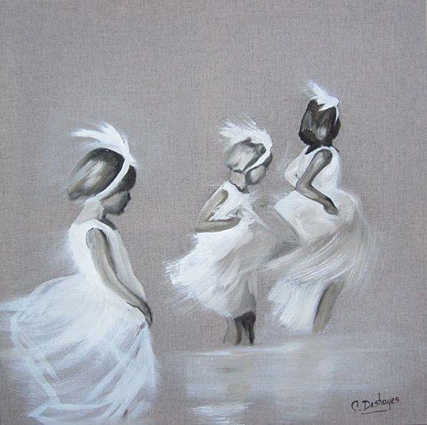 Trois fillettes à la plage - Mes jours trop courts peinture sur lin