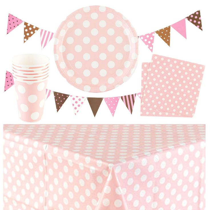 PARTY POLKA DOTS PLATESX6, CUPSX6, NAPKINSX20, BUNTING TABLECLOTH PINK&BROWN