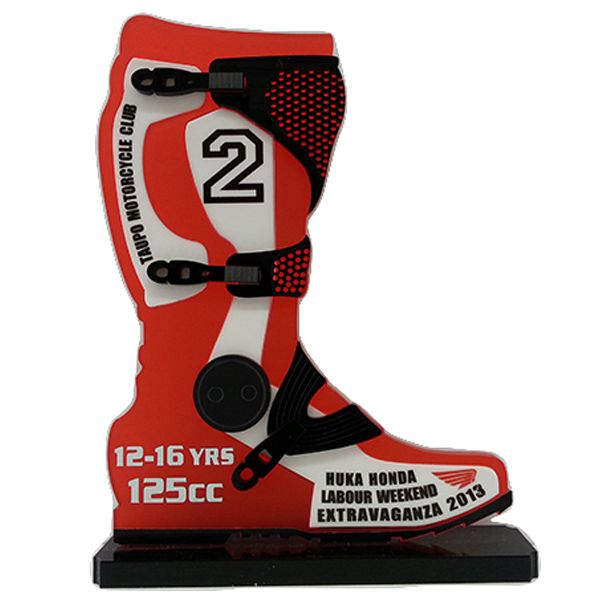 Motocross Boot Deluxe Trophy - Designed and made by us.  These look very cool and make a change from the usual figurine trophies at a great price.  Those that have received these trophies- rave about them! Price includes setup and engraving, full colour insert and logos can be accomodated in the design (great for keeping the sponsors happy). Engrave It Taupo