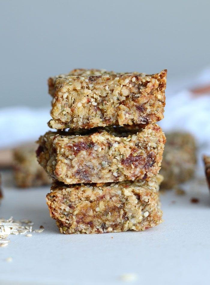 vegan tahini hemp seed bars with oats, coconut and dates