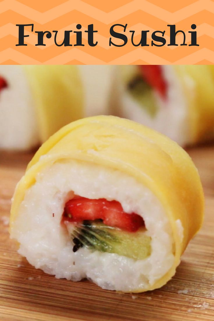 Sushi Recipes on Pinterest   Sushi  Sushi rolls and Homemade     This Recipe For Fruit Sushi Will Blow Your Mind