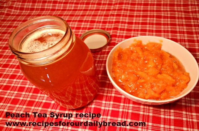 Peach Syrup for Peach Tea http://recipesforourdailybread.com/2012/07/06/simple-peach-syrup-for-peach-tea-recipe-and-pictures/