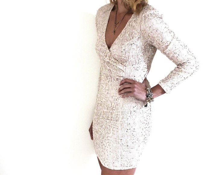 Champagne sequin mini dress with slight shoulder padding. www.dressmeperfect.com #fashion #style #shopping
