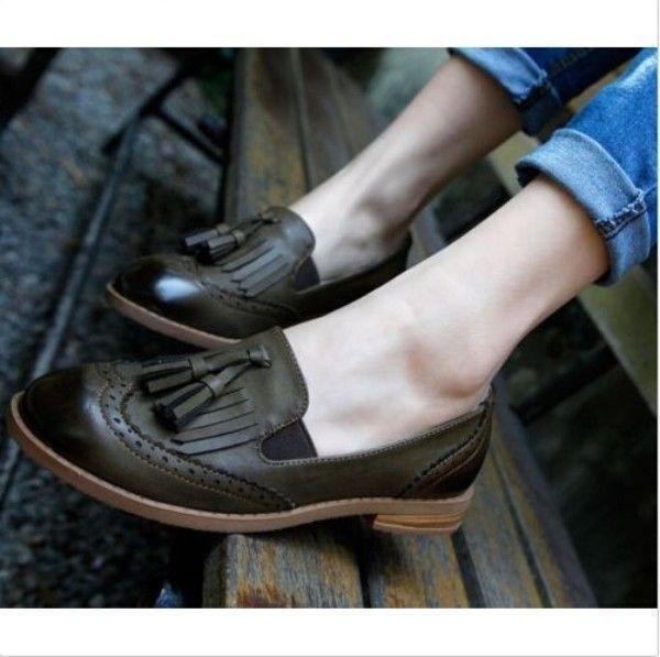 Vintage Womens Oxford Brogue Wingtip Tassel Loafer College Low Heel Dress Shoes