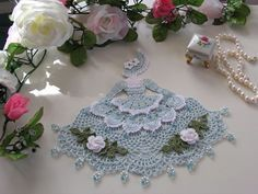 ... crochet doily with glass beads