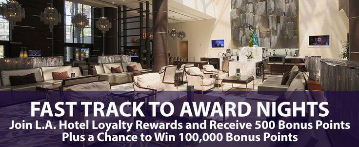 Join our rewards program! You will receive 500 bonus points just for signing up. #rewards #loyalty #rewardsprogram #travel #lahotel #losangeles #dtla #downtownlosangeles #hotelinlosangeles
