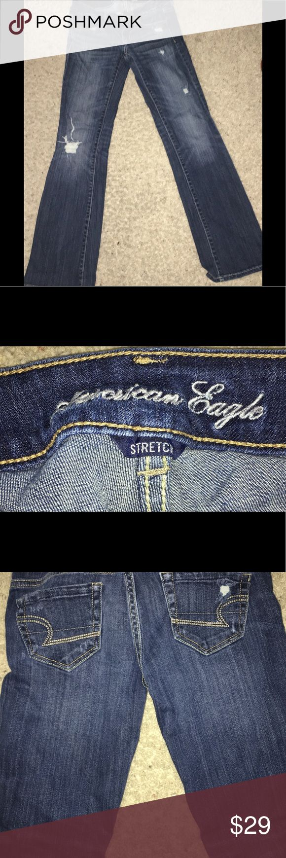Women America Eagle Blue Jeans! Women America Eagle Blue Jeans! Great Conditon❗️❗️ They came with the holes In them American Eagle Outfitters Jeans Boot Cut