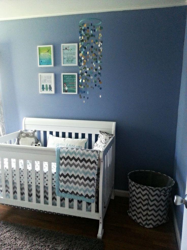 Gender Neutral Owl Themed Nursery Boy Baby Blue Rooms