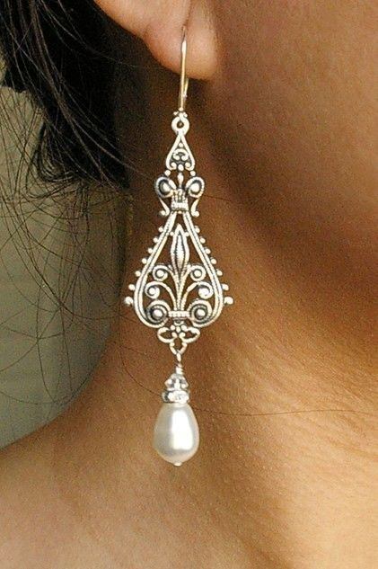 Vintage Bridal Earrings, Silver Filigree Earrings, Antiqued Silver Chandelier Earrings, Ivory White Pearl Chandelier Earrings, VIVIENNE. $39.00, via Etsy.