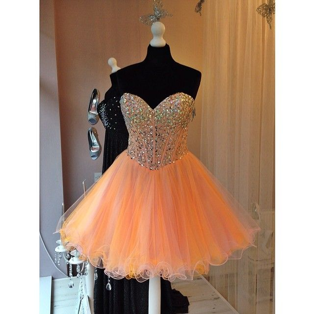 Short Coral Homecoming Dresses Crystal Beaded Sweetheart Cocktail