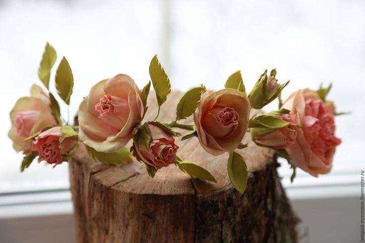 Купить Венок - салатовый, венок из цветов, венок на голову, венок для фотосессии, венок для невесты, фоамиран