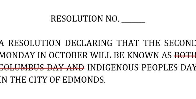 Columbus Day and Indigenous Peoples Day? Edmonds strikes European explorer from resolution