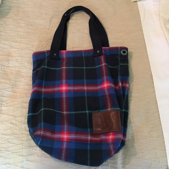 Abercrombie and Fitch Tote Bag Abercrombie and Fitch; Tote bag; Fits items the width of a school binder; patterned with blue pink and red; one zipper pocket on inside of bag Abercrombie & Fitch Bags Totes
