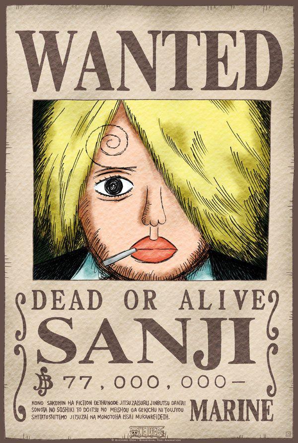 Póster One Piece. Sanji, Se Busca Póster con la imagen de Saji Se Busca, personaje del manga y anime japonés One Piece.