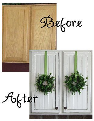add beadboard to cabinets, paint, distress and add knobs - great idea