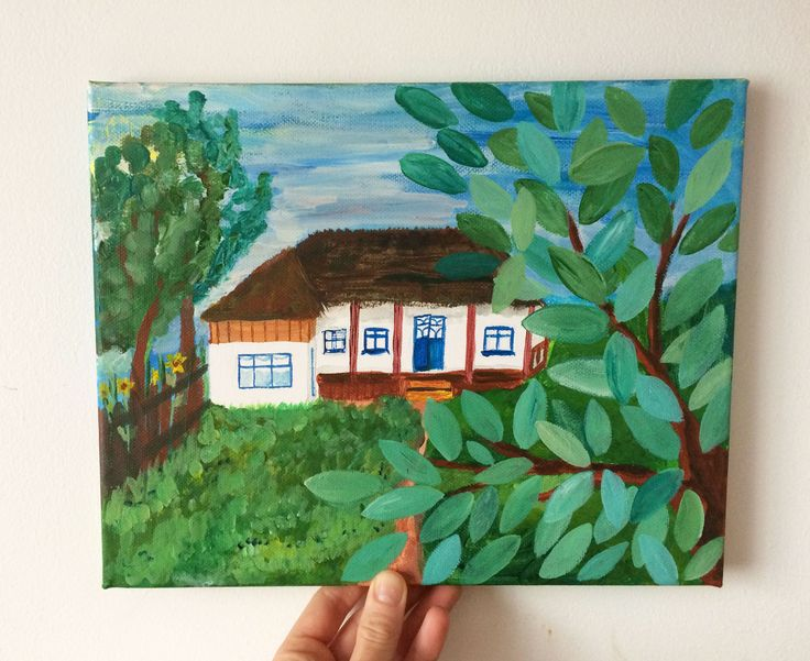 Summer Home,my beautiful grandparents home on canvas with acrylic by ludmilu on Etsy