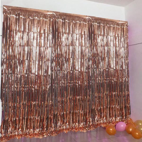 24 Sq Ft Rose Gold Metallic Foil Shimmer Fringe Curtain Photo