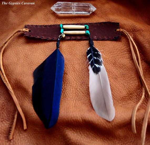 A SINGLE leather arm band with bone hair pipes, turquoise beads, and feathers~  (At checkout please indicate which armband out of two you would