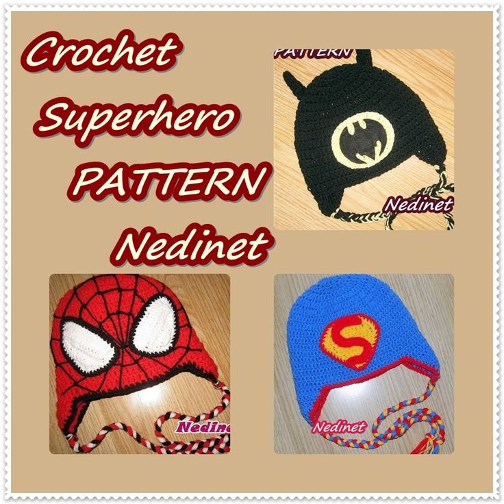 Crochet Superhero hat PATTERN, Pictured 3 crochet hat pattern Spiderman, Batman, Superman by NedinetCreations on Etsy