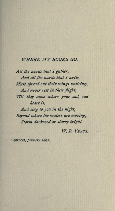 Where My Books Go. W B Yeats. books sing