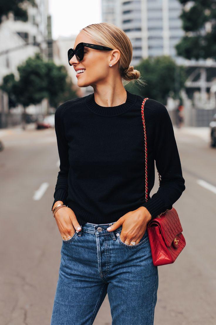 Fashion Jackson Wearing Everlane Black Cashmere Sw…